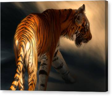 Canvas Print featuring the digital art Torch Tiger 3 by Aaron Blaise