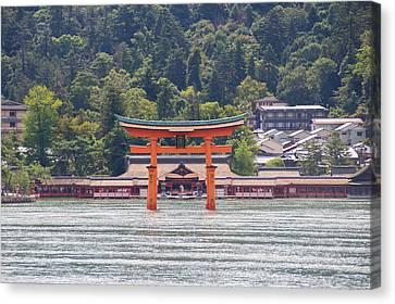 Floating Torii Canvas Print - Torii Gate Of Miyajima by Laura Palmer