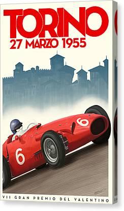 Torino Grand Prix 1955 Canvas Print by Georgia Fowler
