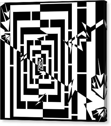 Torn Worm Hole Maze  Canvas Print by Yonatan Frimer Maze Artist