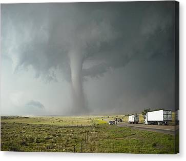 Canvas Print featuring the photograph Tornado Truck Stop by Ed Sweeney