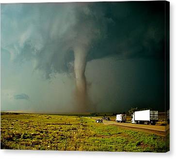 Canvas Print featuring the photograph Tornado Truck Stop II by Ed Sweeney