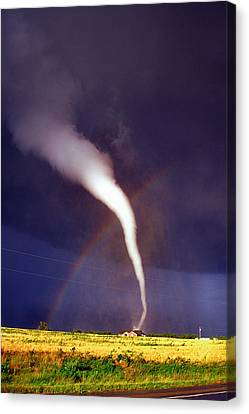 Tornado With Rainbow In Mulvane Kansas Canvas Print by Jason Politte