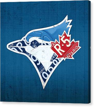 Toronto Blue Jays Baseball Team Vintage Logo Recycled Ontario License Plate Art Canvas Print by Design Turnpike