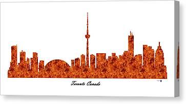 Toronto Canada Raging Fire Skyline Canvas Print