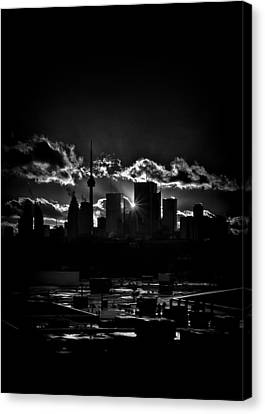 Toronto Canada Skyline At Sunset From The Pape St Bridge Canvas Print by Brian Carson