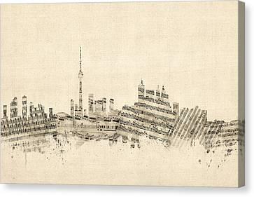 Canada Canvas Print - Toronto Canada Skyline Sheet Music Cityscape by Michael Tompsett
