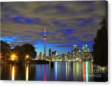 Toronto In Blue Light Canvas Print by Charline Xia