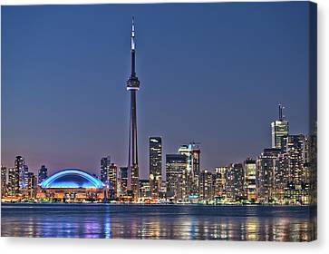 Toronto Night Skyline Cn Tower Downtown Skyscrapers Sunset Canada Canvas Print