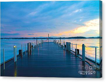 Toronto Pier During A Winter Sunset Canvas Print by Nina Silver