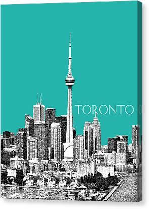 Toronto Skyline - Teal Canvas Print