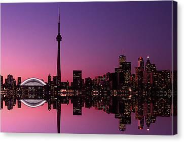Toronto Skyline At Sunset, Toronto Canvas Print by Alan Marsh