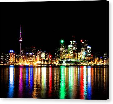 Canvas Print featuring the photograph Toronto Skyline Night by Brian Carson