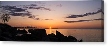 Toronto Skyline Panorama At Sunrise Canvas Print by Georgia Mizuleva