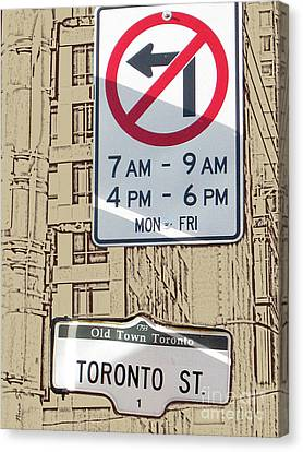 Toronto Street Sign Canvas Print by Nina Silver