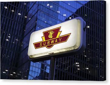 Toronto Subway Sign Canvas Print by Norman Pogson