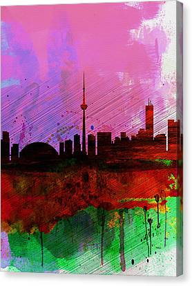 Downtown Canvas Print - Toronto Watercolor Skyline by Naxart Studio
