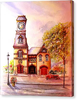 Canvas Print featuring the painting Toronto's Old Yorkville Fire Hall by Patricia Schneider Mitchell