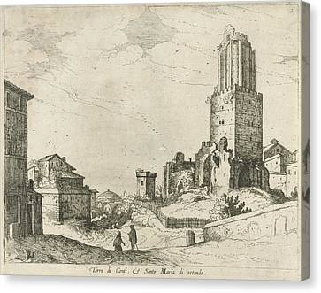 City Scape Canvas Print - Torre Delle Milizie And Pantheon, Willem Van Nieulandt II by Willem Van Nieulandt (ii)