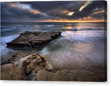 Torrey Pines Flat Rock Canvas Print by Peter Tellone