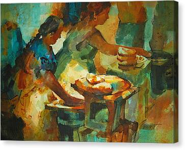 Canvas Print featuring the painting Tortillas Caliente by Roger Parent