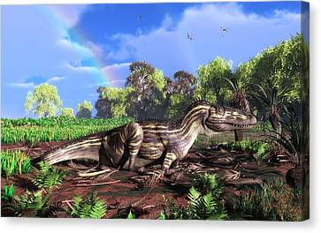Torvosaurus And Rainbow Canvas Print by Walter Myers