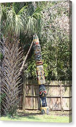 Totem Pole Canvas Print by Paula Rountree Bischoff