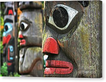 Woodcarving Canvas Print - Totem Poles by JR Photography