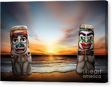 Totems At Sunset Canvas Print by Bedros Awak
