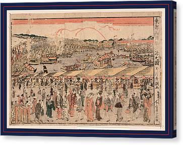 Toto Ryogokubashi Yusuzumi No Zu Canvas Print by Shucho, Tamagawa (18th-19th Century), Japanese