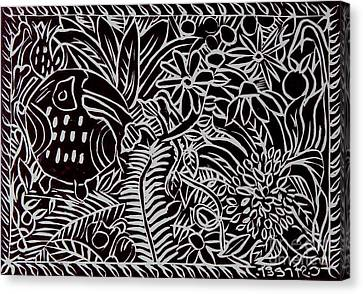 Jungle Scene With Toucan Black  Canvas Print
