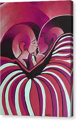 Canvas Print featuring the painting Touched By Africa In  Red Hues by Tracey Harrington-Simpson