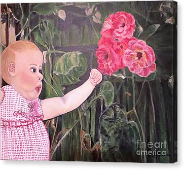 Touched By The Roses Painting Canvas Print by Kimberlee Baxter