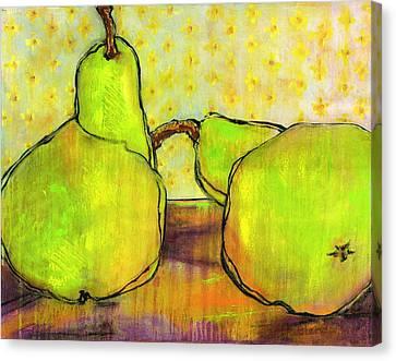 Touching Green Pears Art Canvas Print