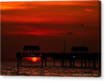 Canvas Print featuring the photograph Touching The Sunset by Richard Zentner