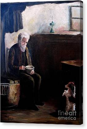 Canvas Print featuring the painting Tough Times by Hazel Holland