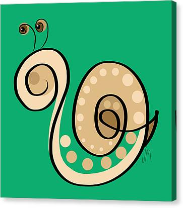 Spring Canvas Print - Thoughts And Colors Series Snail by Veronica Minozzi