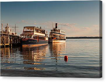 Lake Geneva Wisconsin Canvas Print - Tour Boats Lake Geneva Wi by Steve Gadomski