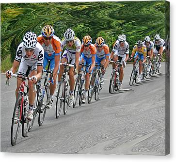 Canvas Print featuring the photograph Tour Of Missouri Downhill 2009 by Christopher McKenzie