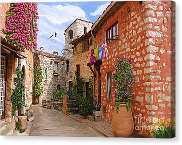 Canvas Print featuring the painting Tourettes Sur Loup France by Tim Gilliland