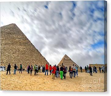 Tourism Fogh At Giza Pyramids  Canvas Print by Karam Halim