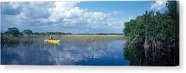 Tourist Kayaking In A Pond, Nine-mile Canvas Print