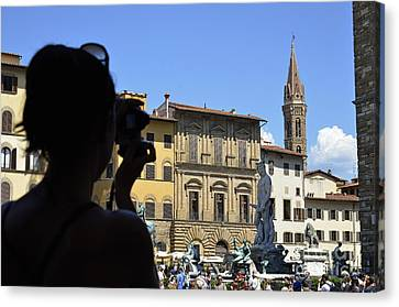 Tourist Taking Pictures Of Florence Canvas Print by Sami Sarkis