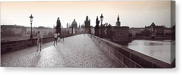 Tourist Walking On A Bridge, Charles Canvas Print by Panoramic Images