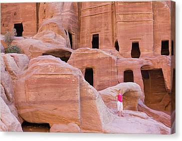 Tourist With Uneishu Tomb, Petra Canvas Print by Keren Su
