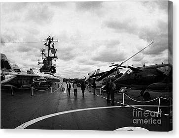 tourists and Aircraft on the flight deck of the USS Intrepid new york city Canvas Print