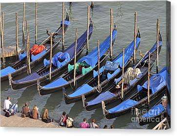 Canvas Print - Tourists And Row Of Empty Moored Gondolas by Sami Sarkis