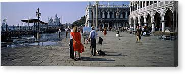 Tourists At A Town Square, St. Marks Canvas Print