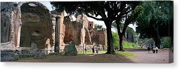 Tourists At A Villa, Hadrians Villa Canvas Print by Panoramic Images