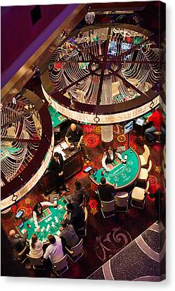 Tourists At Blackjack Tables In Casino Canvas Print by Panoramic Images